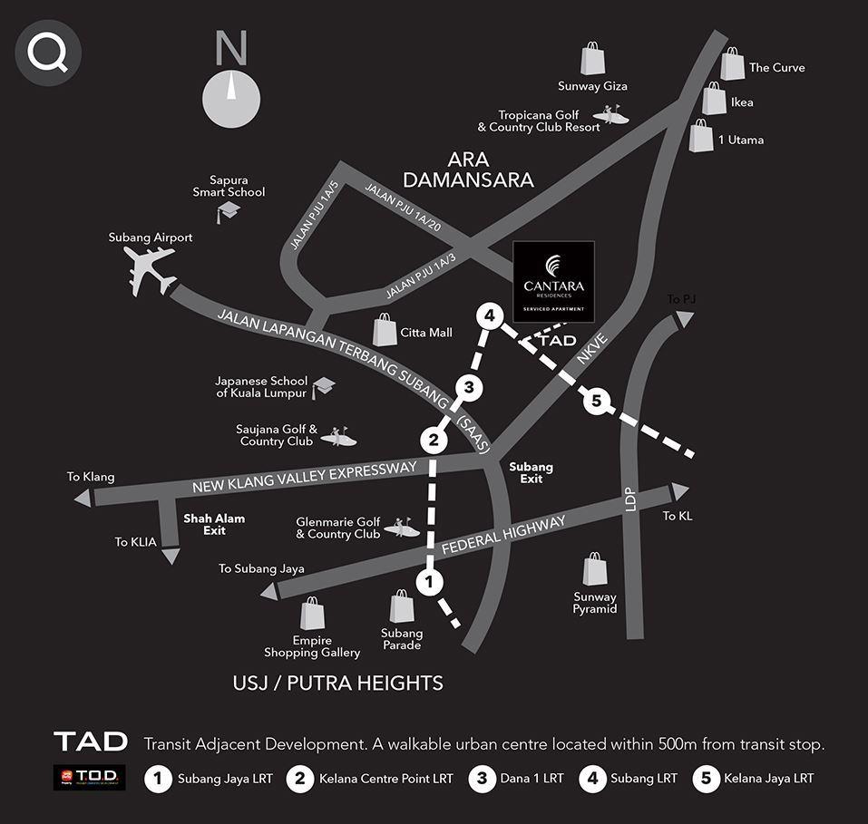 Cantara-Residences-Ara-Damansara-Location-Map